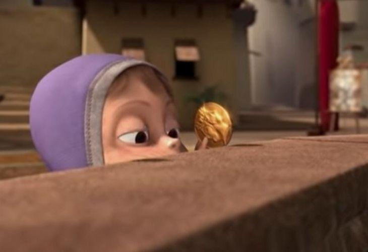 En la foto se ve una parte del corto en donde Tippy se acerca con una moneda de oro a la fuente