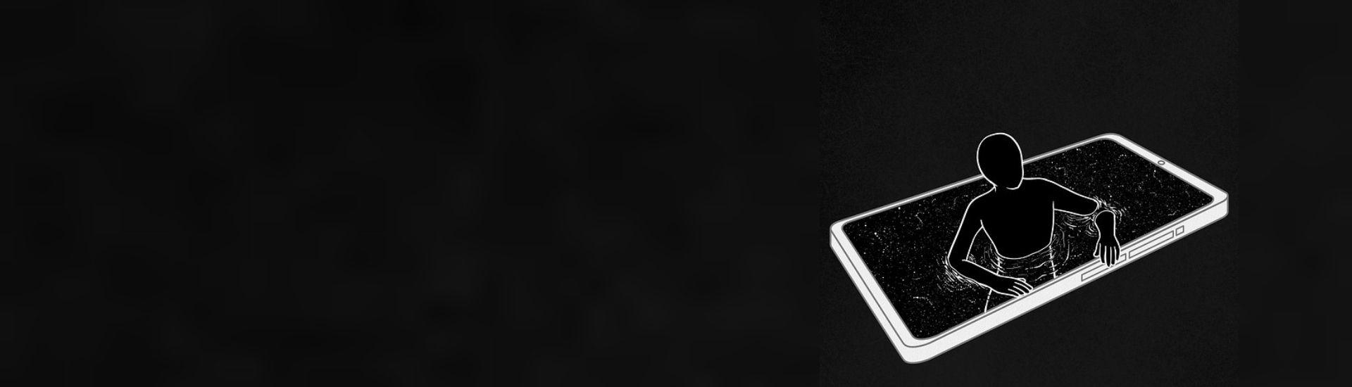 Ilustración de una persona saliendo por la pantalla de un celular