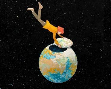 Ilustración de una persona abriendo el planeta tierra, mientras está suspendida entre estrellas