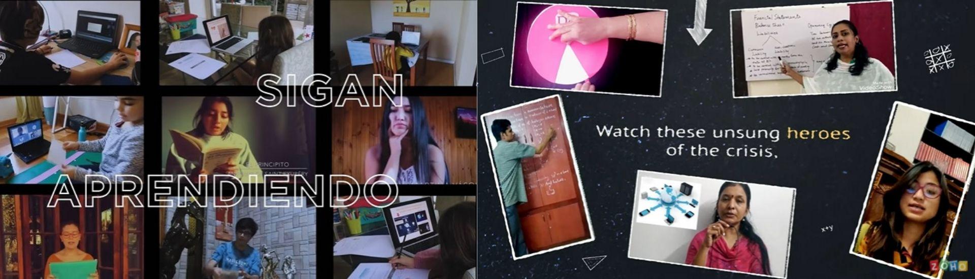Dos imágenes sacadas de los videos, a la izquierda se puede ver una clase por zoom y en la otra una parte del video donde aparecen varios docentes