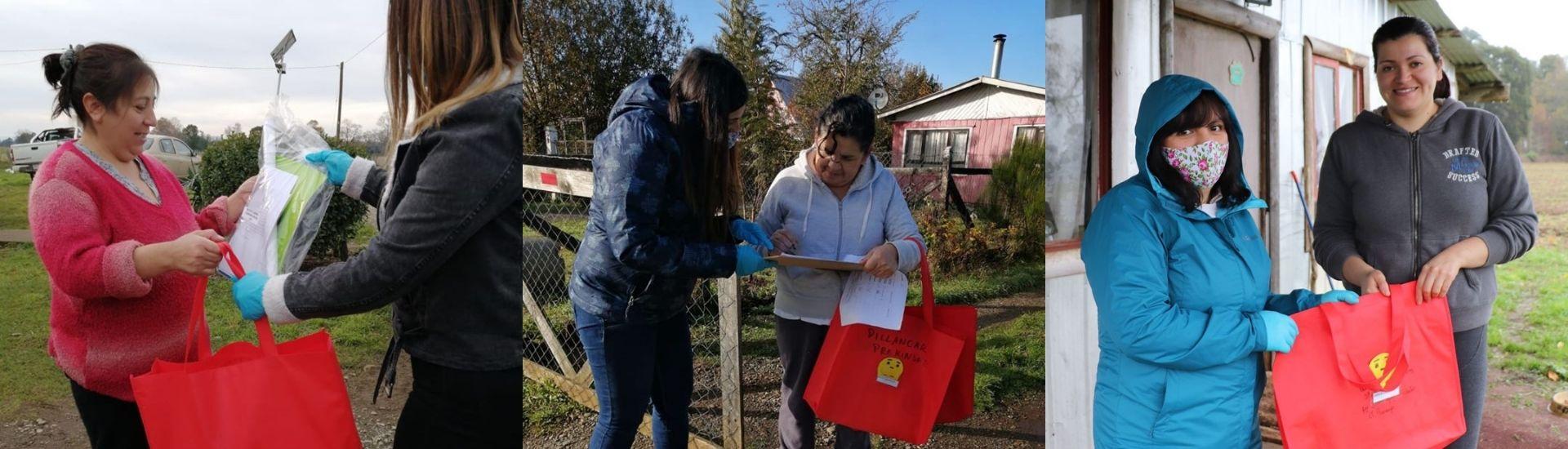 Imágenes de la profesora Ed entregando material a los familiares de sus estudiantes