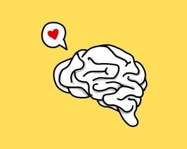 Ilustracion de un cerebro con un corazón