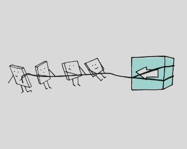 Ilustración de varias figuras arrastrando una flecha hacia la izquierda