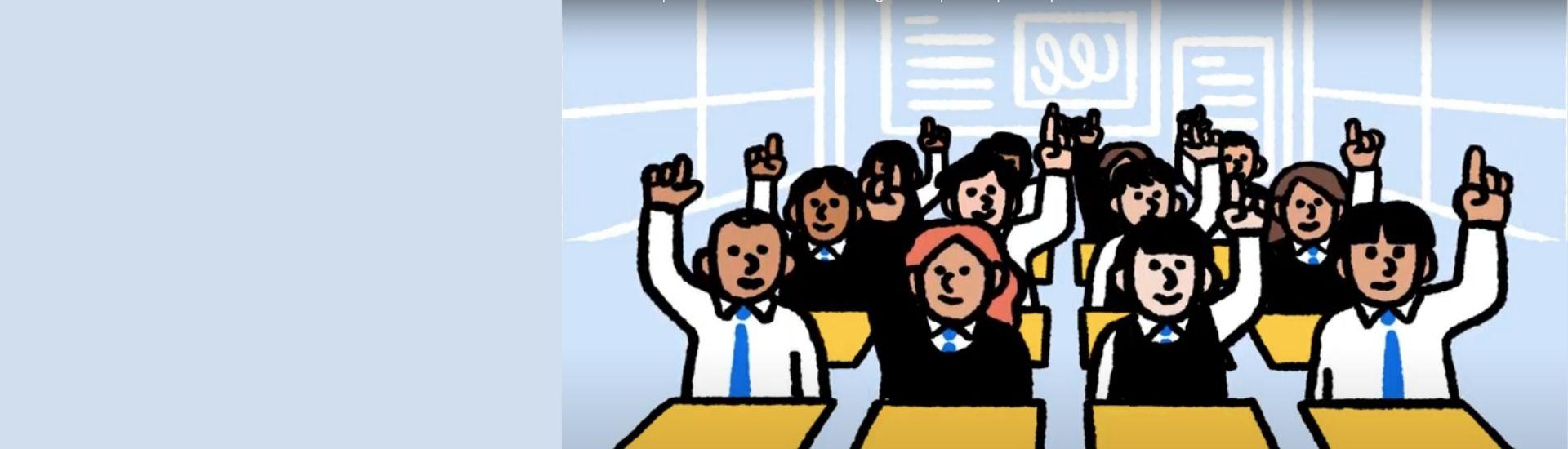 Ilustracion de varios estudiantes en una sala de clases