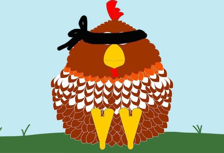 En la imagen se ve la ilustración de una gallina con los ojos vendados
