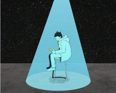 Ilustración de un niño concentrado en un celular