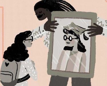 Ilustración estudiante y profesora
