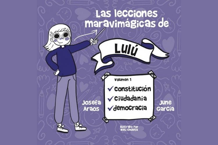 """Se ve la portada del libro """"Las lecciones maravimágicas de Lulú"""", enseñando cosas como cuidadanía y democracia; en tonos morados."""