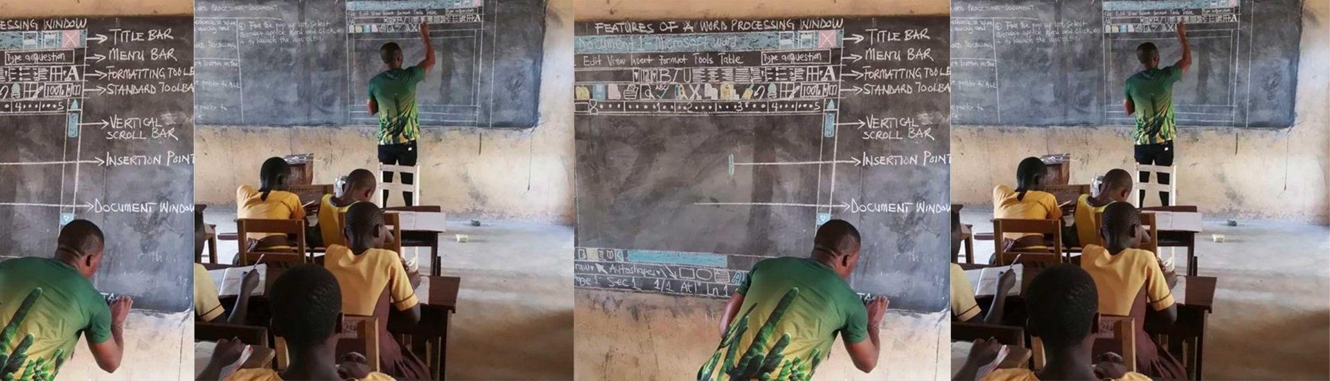 Owura Kwadwo en la sala de clases