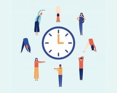 En la ilustración se ven distintas personas haciendo ejercicios de pausas activas, alrededor de un reloj que mide el tiempo de cada ejercicio