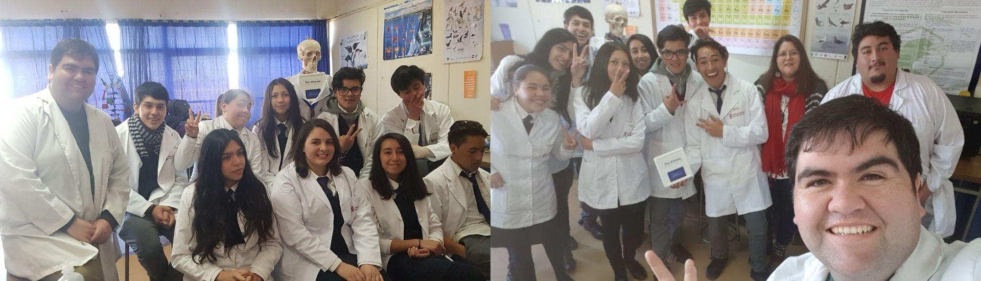 El profesor Pablo Malhue junto a sus estudiantes en un laboratorio de ciencias
