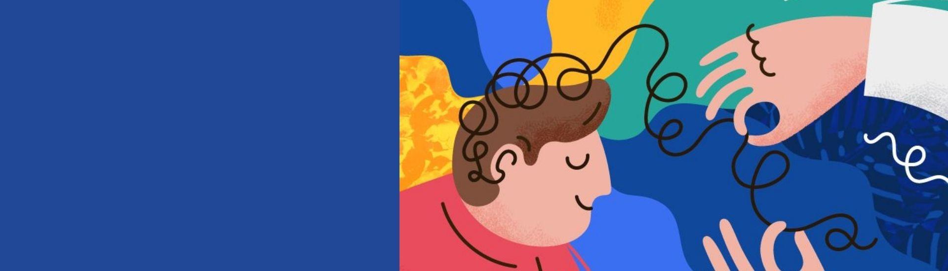 en la ilustración se ve a un niño explorando su mente, concienci ay sensibilidad, a través de la metáfora de un hilo que se va desentrañando, con la ayuda de un docente.