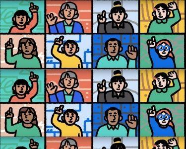 Ilustración de varios estudiantes levantando la mano en una intervención de zoom