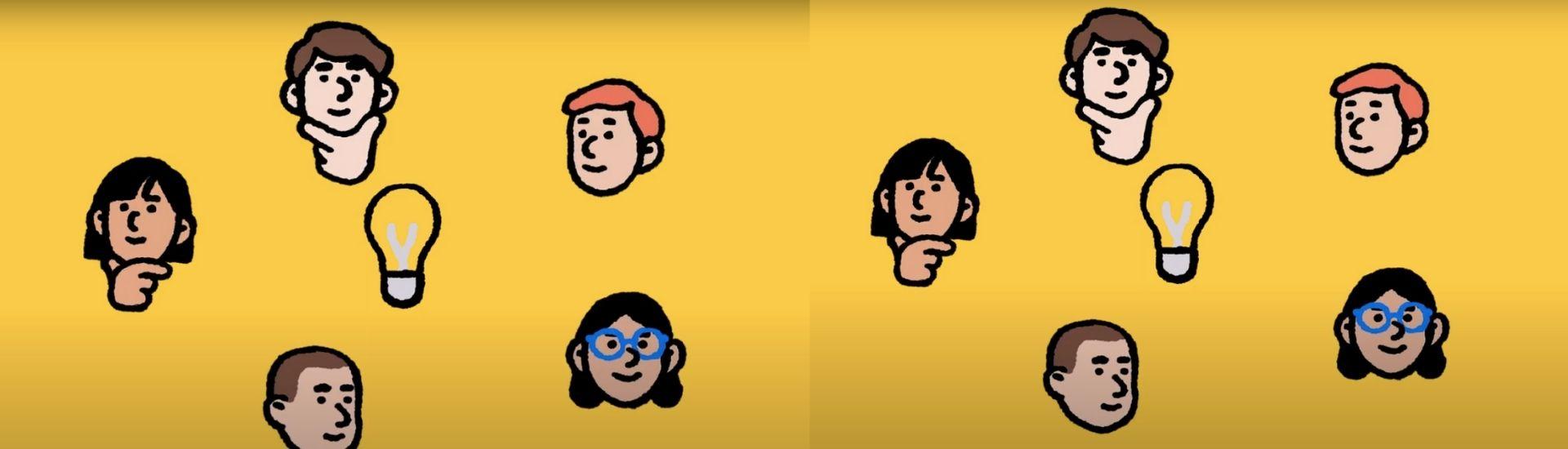 Ilustración de varios estudiantes pensando alrededor de un bombillo