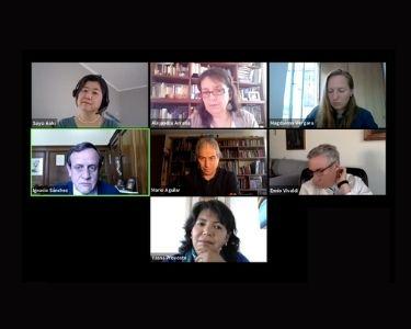 Pantallazo de zoom, donde se ven las caras de los participante del primer encuentro de tenemos que hablar de educación