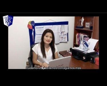 En la imagen se ve a Fabiola haciendo un llamado para que las personas se cuiden, es un screenshot del video que creó con sus estudiantes