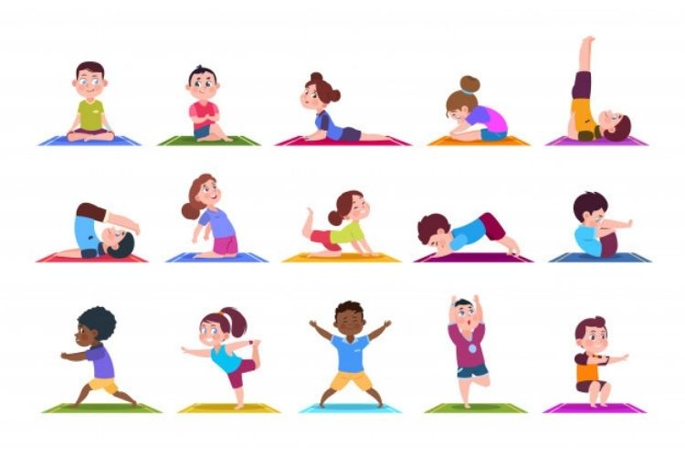 En la imagen se ven ilustraciones de varios niños haciendo distintas posturas