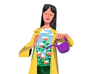 En la imagen se ve la ilustración de una mujer regando sus plantas al interior. Lo que es una metáfora de acuerdo al amor propio y autoestima