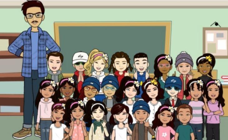 Una foto de avatares del curso completo mas el profesor miguel