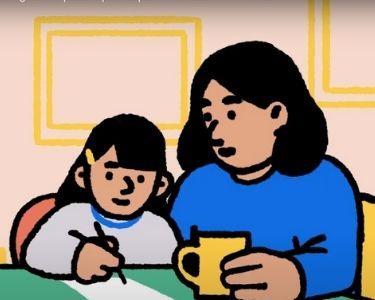 Ilustración de una madre con su hija, para cuestionar qué educación quieren los niños y niñas