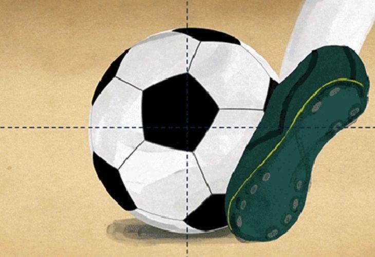 Ilustración de pelota y pie pateandola
