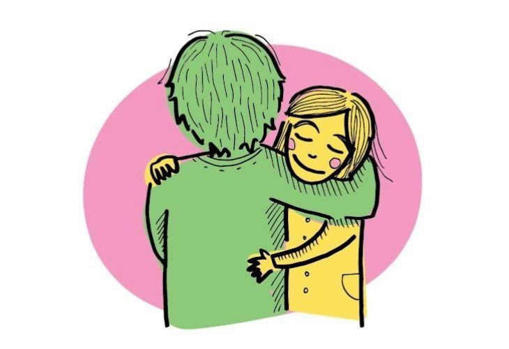ilustración docente abrazando a estudiante