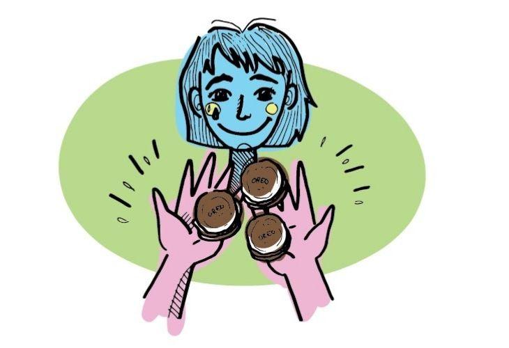 ilustración docente recibiendo galletas