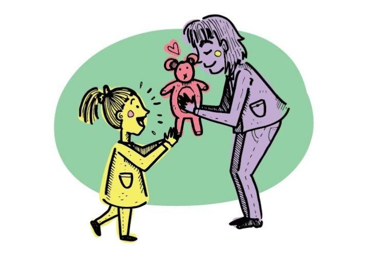 ilustración docente y estudiante con peluche