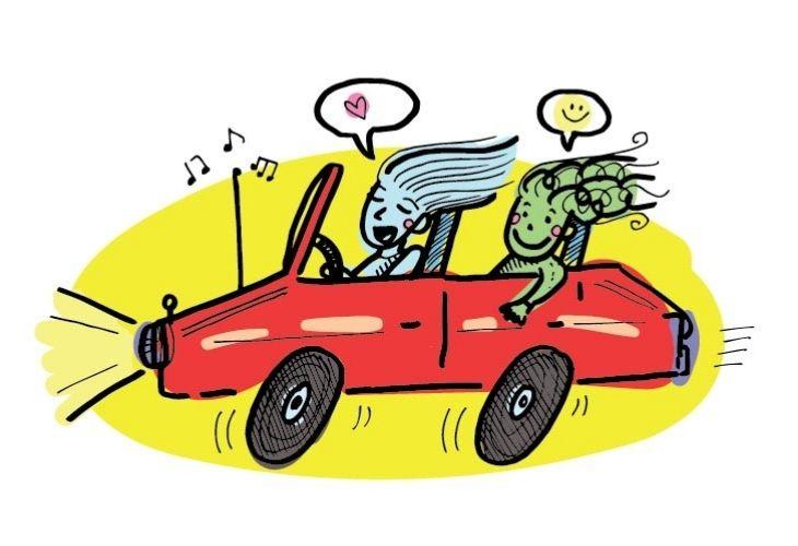 ilustración docente y estudiante en auto rojo