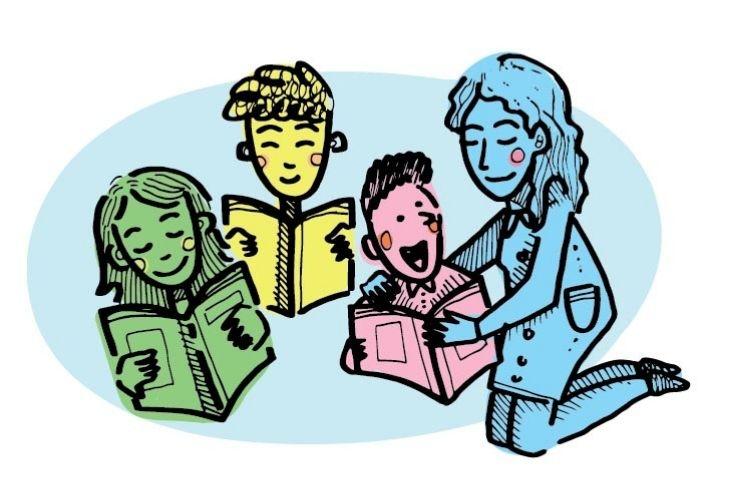 ilustración docente y estudiantes con libros