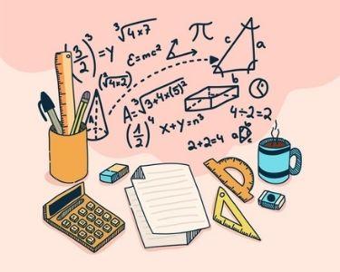 En la imagen se ve un fondo rosado con fórmulas y calculadorasado con fórmulas matemáticas