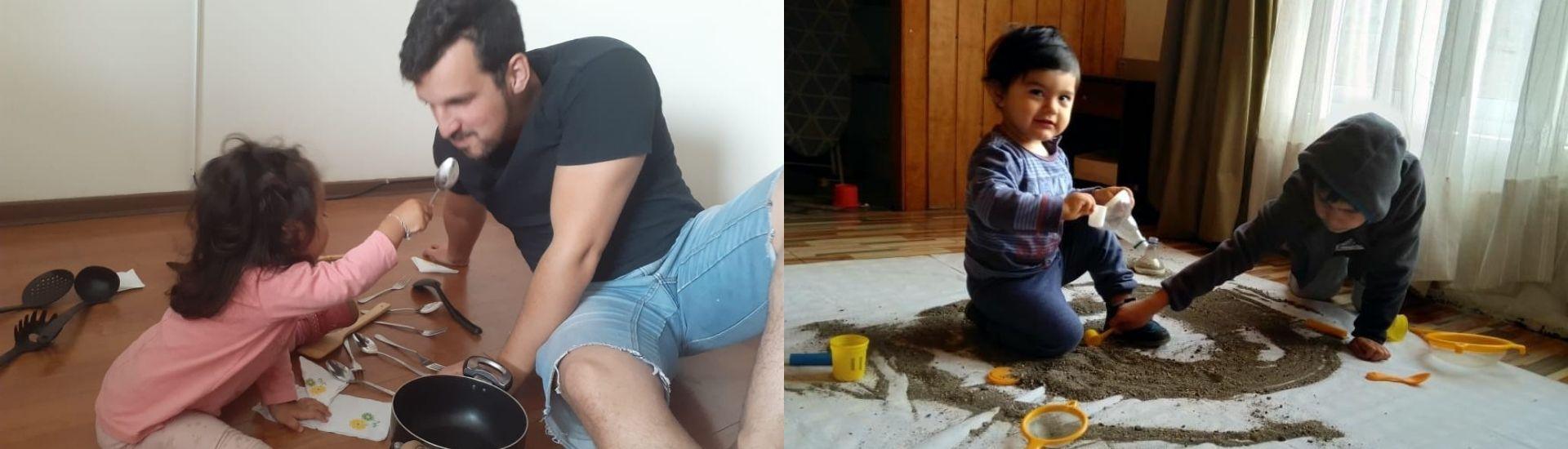 Dos fotos en las que se encuentran niños, niñas y padres, trabajando la pedagogía reggio emilio con materiales de la casa y a distancia