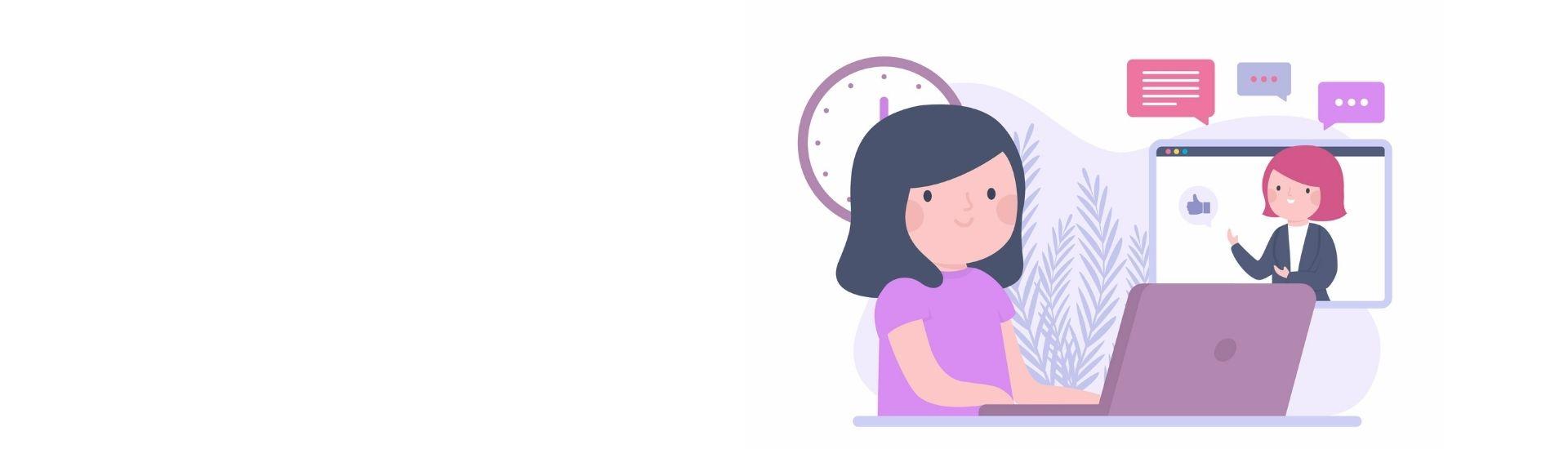 Ilustración que muestra como es la nueva enseñanza, con una niña en su computador y con la sala presente en una imagen. Ilustración de Freepik.