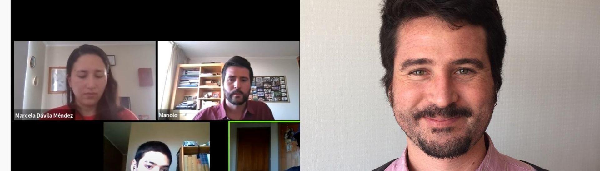 Imágenes del profesor Manuel Calcagni, se ve un retrato de frente y una imagen de él en una clase vía Zoom