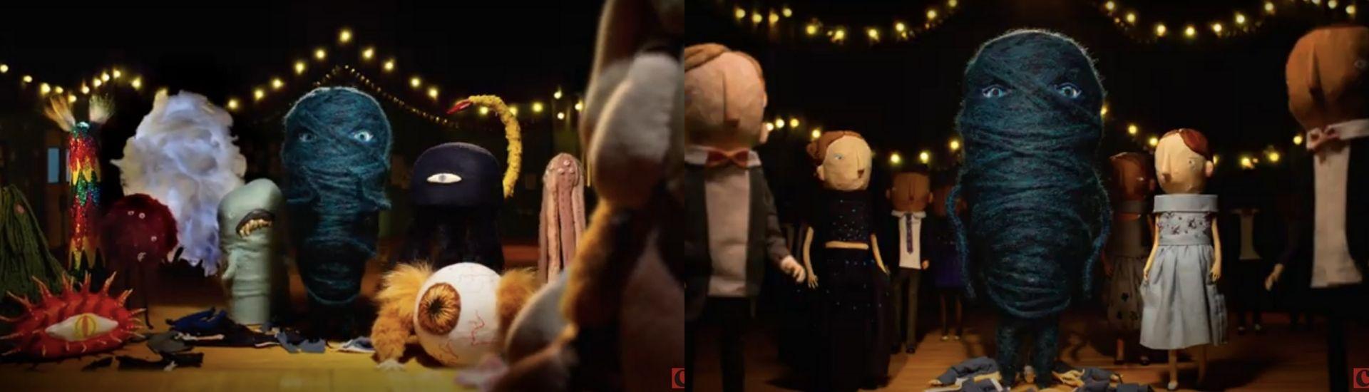 Fotograma de Nobody is normal, en el que aparece el protagonista cuando recién se saca el traje de humano y se muestra como un ovillo de lana azul
