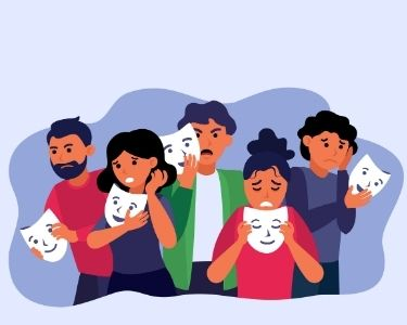 La imagen es una ilustración de de cinco personas que sostienen unas máscaras que reflejan una emoción muy distinta a la que expresan sus rostros. Crédito: Freepik.