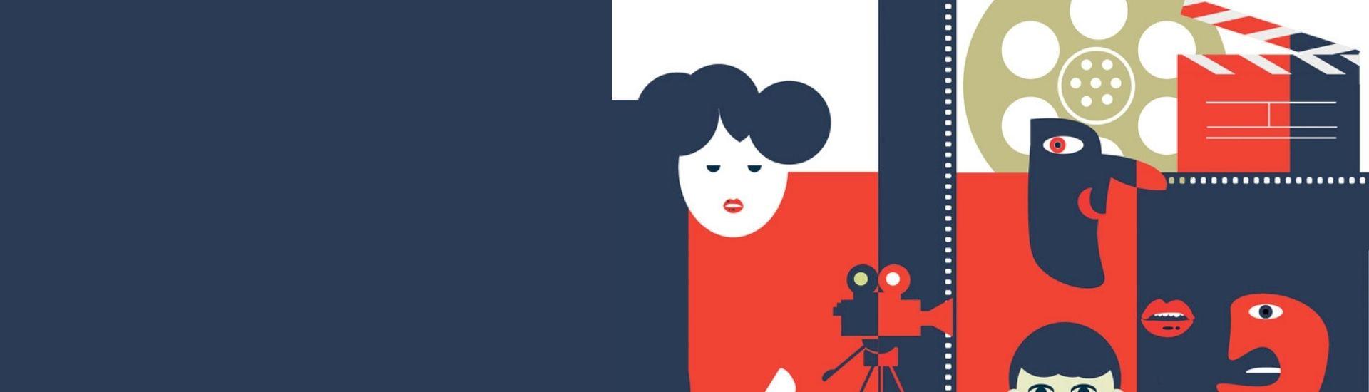 En la imagen se ve una ilustración abstracta de figuras referentes al cine