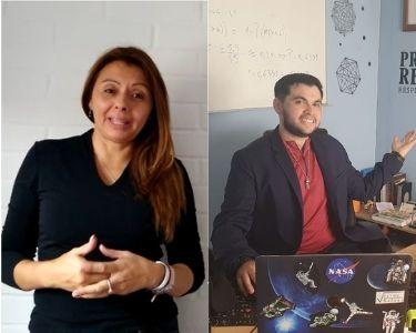 Fotos de dos de los cinco docentes: Paola y Víctor.
