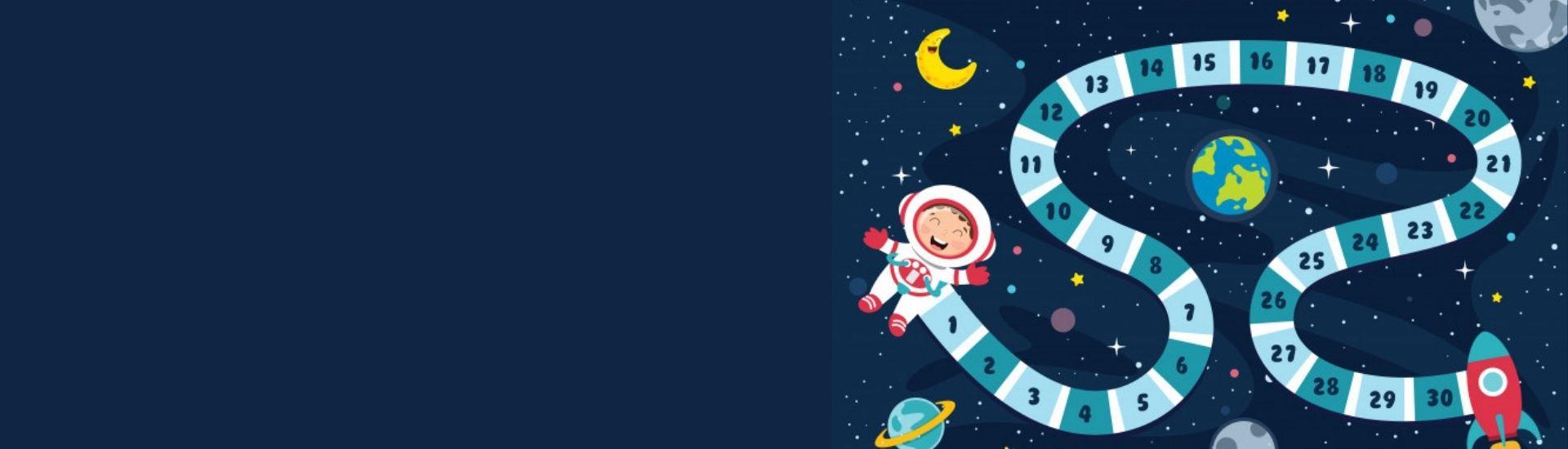 En la imagen se ve una ilustración de un juego de mesa ambientado en el espacio exterior