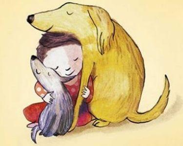 Tenencia responsable de mascotas y empatía. En la imagen se ve un niño con sus dos mascotas: dos perros.