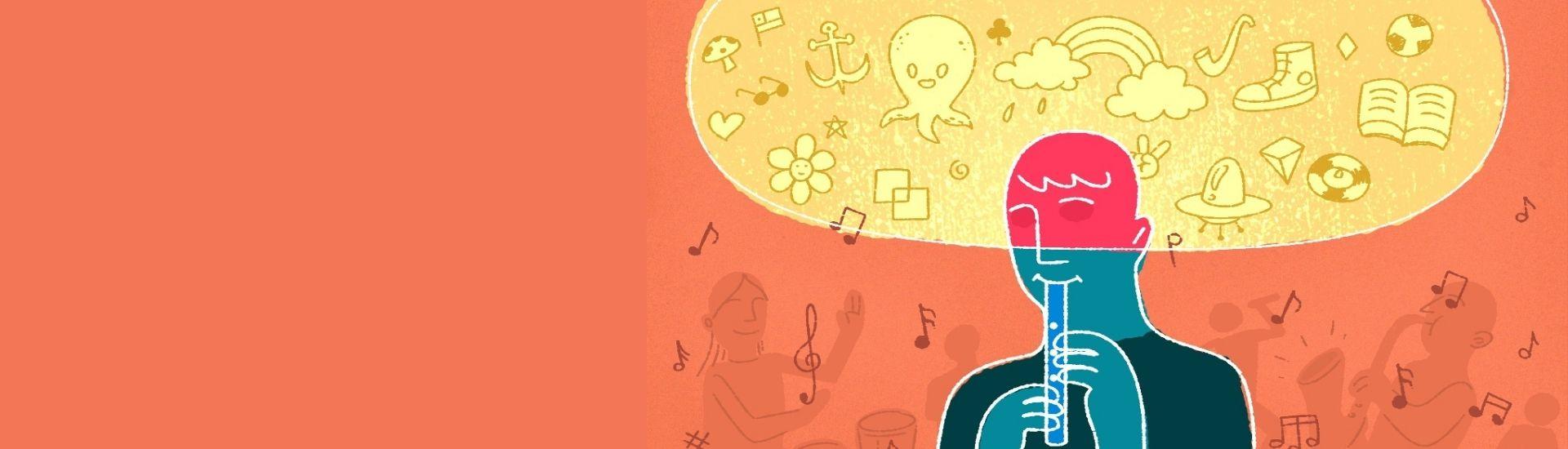 En la imagen se ve una persona tocando una flauta, ensimismada en la música.