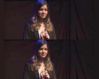 Andrea Henríquez en una charla sobre el acoso escolar