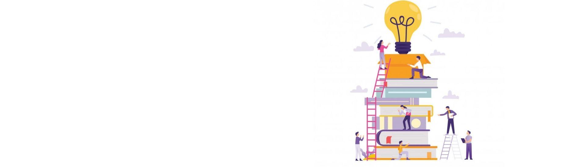 Una ilustración de libros apilados con personas escalando sobre ellos, descubriéndose a mi mismos