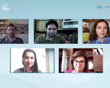 Imagen de la transmisión en vivo con caja los andes, junto a los profesores finalistas del global teacher prize chile 2020