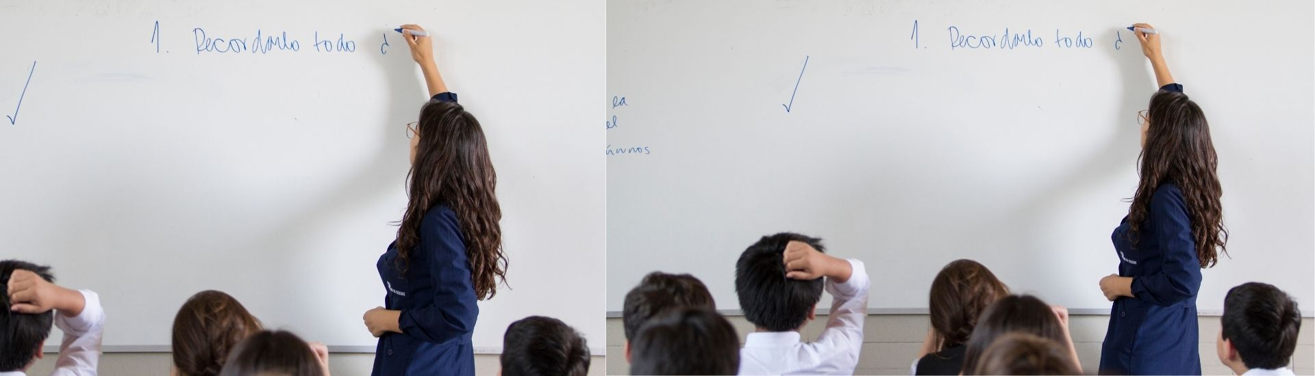 Imagen de una profesora de espalda, escribiendo en la pizarrra. En primer plano se ven la cabezas de varios niños, atentos a lo que escribe la docente.