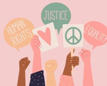 Ilustración que muestra 5 manos, que sostienen carteles alusivos a la paz. Imagen que acompaña un artículo sobre cómo educar por la paz.