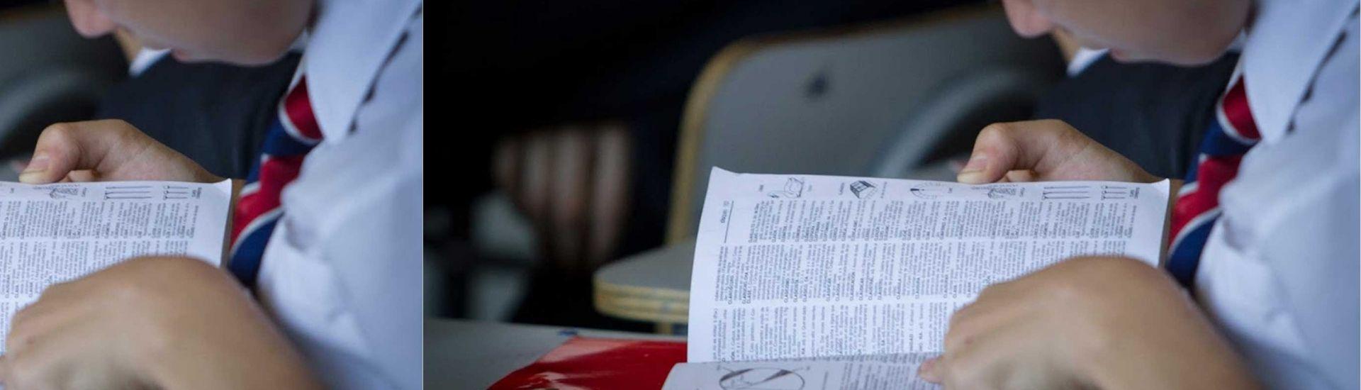 Fotografía de estudiante leyendo el diccionario