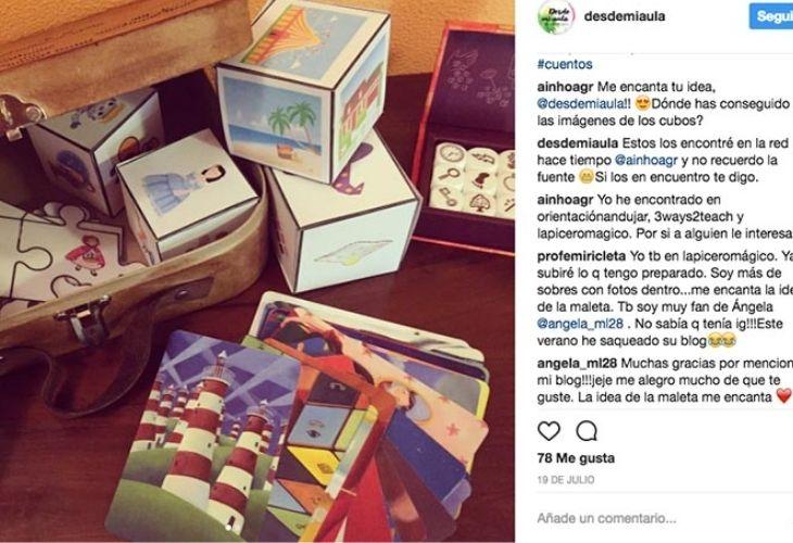 Fotos de instagram (desdemiaula) sobre la maleta de los cuentos