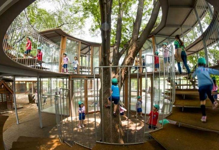 Fuji Kindergarten y niños(as) jugando en sus instalaciones