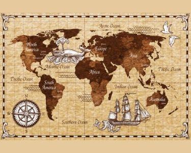 Ilustración de un mapa atiguo, similar a los que están en el sitio web de Geografía Infinita